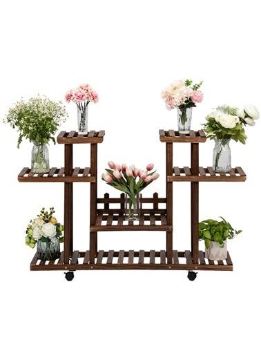 ENG AHSAP Ahşap Çiçeklik Dekoratif Premium Çiçek Standı Kahve